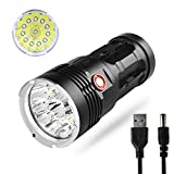 10000 Lumens Flashlight - 12 LEDs Super Bright Flashlight, 3 Illumination Modes, USB Rechargeable Build-in Batteries, Protective Insulation Mode, IPX-5 Water Resistance Handheld Flashlights