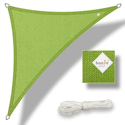 hanSe® Marken Sonnensegel Sonnenschutz Wetterschutz Wetterbeständig HDPE Gewebe UV-Schutz Dreieck 90° gleichsch. ca. 3,0x4,0x5,0 m Limegrün