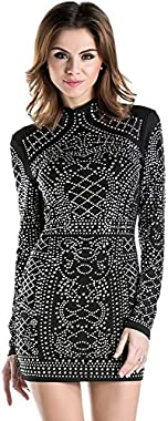 Miss ord Women's Long Sleeve High Neck Bodycon Tight Casual Mini Dress