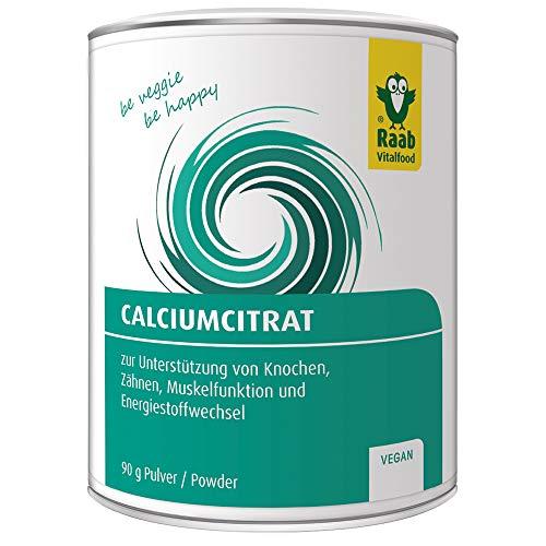 Raab Vitalfood Calcium-Citrat Pulver, 90 g, vegan, laborgeprüft, gut zu dosieren, Sportler, Unterstützung von Muskeln & Knochen, Elektrolyt-Haushalt