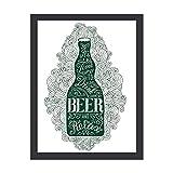 Arte de pared de 30,48 x 40,64 cm, botella de cerveza verde oscuro con letras, decoración de pared para colgar en la pared, póster inspirador, cita motivacional, decoración de pared con estilo vintage