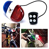 Itian Bicyclette à Quatre Tonalités Cloches Cloches,Cycling Police Siren Electric 6 LED Light,Horn Bell with 4 Switches Control Whistle