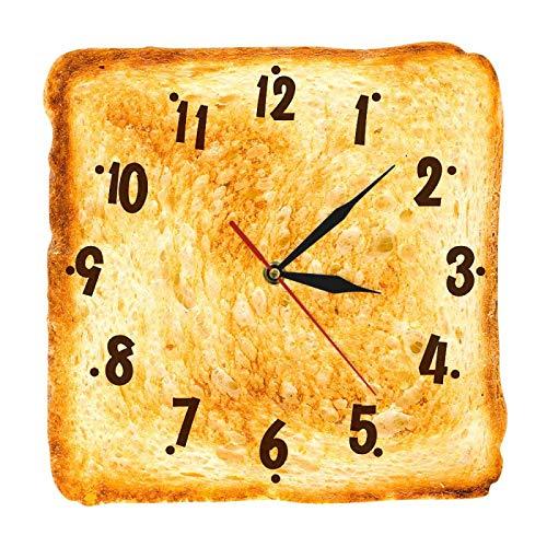 yage Reloj de Pared de Pan Tostado Realista para decoración del hogar Gourmet, Letrero de panadería, Pan, Comedor, Arte de Pared, Reloj de Pared de Cocina de Cuarzo silencioso