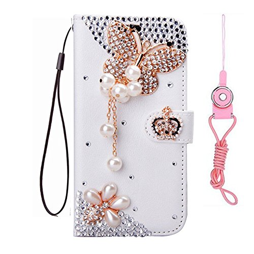 ZTE N817 Case, ZTE Uhura/Ultra/Quest case,Handmade Girls Fashion Bling PU Leather Filo Slots Wallet Flip Protective Case Cover with 2 Straps (Butterfly Crown)