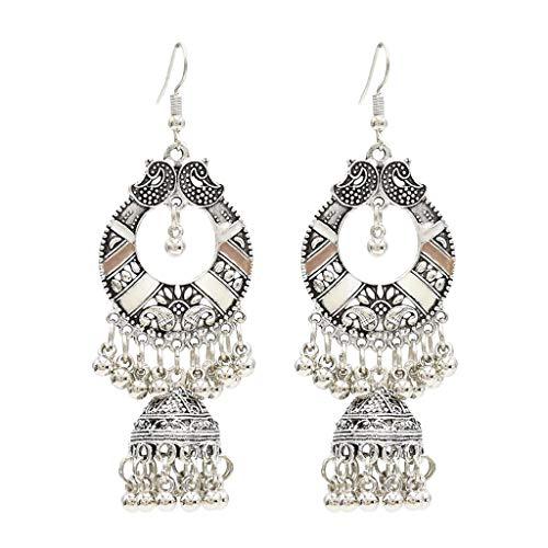 SweetWU - Pendientes de estilo indio, estilo étnico, estilo bali jhumki, gitano, 1 campana, color blanco