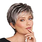 EOVL Pelucas de Pelo Humano de Peluca Natural Corta para Mujer Pelucas de Pelucas de Pelucas Gris a Gris Oscuro para Blanco/A