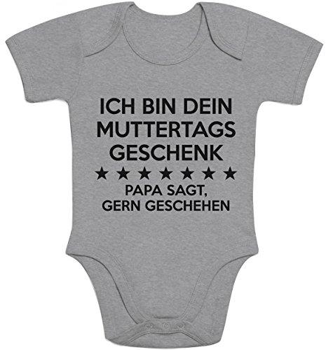 Shirtgeil Ich Bin Dein Muttertagsgeschenk Papa SAGT Gern Geschehen Baby Body Kurzarm-Body 6-12 Monate Grau