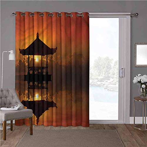 YUAZHOQI Energy Efficient Sliding Patio Door Curtain Panel, Balinese,Sunset Bali Beach Bungalow, W100 x L108 Inch Vertical Blinds for Sling Door(1 Panel)