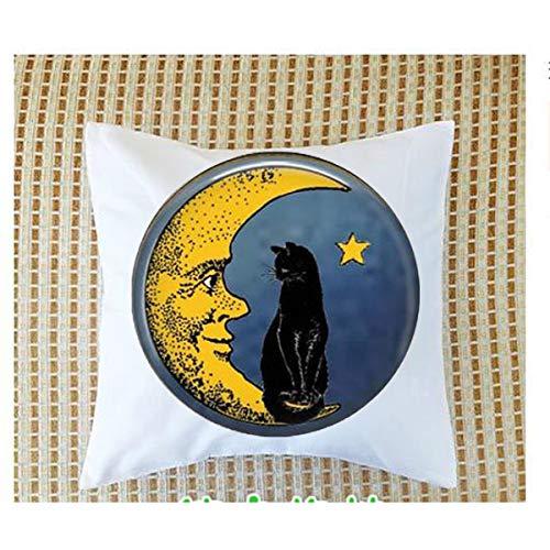 Vintage Moon con gato negro - Broche de luna - Joyería de luna vintage - Mr. Moon - Fundas de almohada de luna envejecida - Luna sonriente