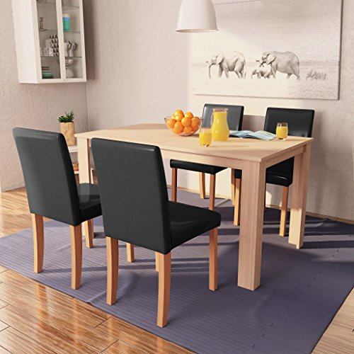 vidaXL Eettafel met stoelen kunstleer en eiken zwart 5 st