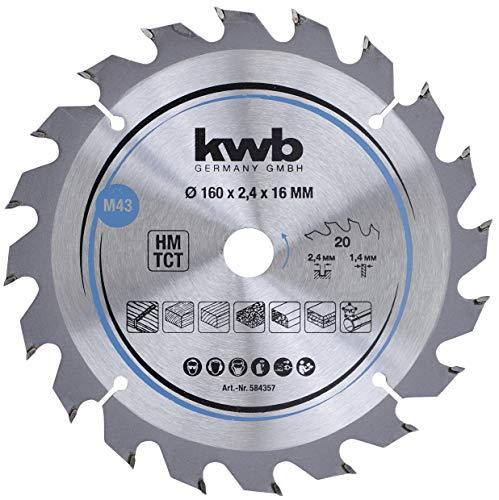 kwb 584357 - Hoja de sierra circular para madera y madera dura, 160 x 16 mm, cortes limpios, número medio, 20 dientes Z-20, hoja de sierra CleanCut media, 160 x 16 mm