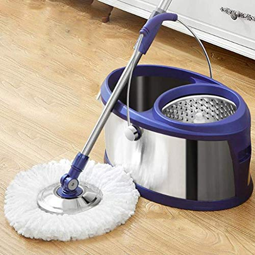 Magic Mop Mop Bucket Mop Bucket - Mop Bucket Spinning Mop Bucket Spin Lavable de Acero Inoxidable sin Manos Durable