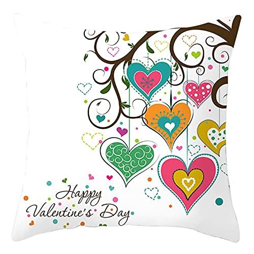 Beydodo Funda de Almohada,Happy Valentine's Day Corazón con Árbol,Fundas de Cojin 40 x 40 Fundas Cojin Decorativo Blanco Rosa Verde