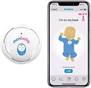 MonBaby Rechargeable Baby Monitor with Breathing, Rollover and Temperature Sensors: Track Baby's Breathing, Body Movement,...