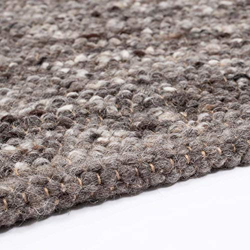 Hand-Web-Teppich | Reine Schur-Wolle im Skandinavischen Design | Wohnzimmer Esszimmer Schlafzimmer Flur Läufer | Grau Beige (Oslo Grau - 120 x 170 cm)