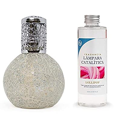 Pack lampe catalytique Mosaïque blanche + parfum d'ambiance (Lollipop, 200 ml)