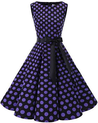 Bbonlinedress 50s Vestidos Vintage Retro Rockabilly Clásico Black Purple Big Dot XL