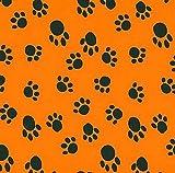 Fleece Paws Black on Orange Fleece Fabric Print by The Yard o1406-3b