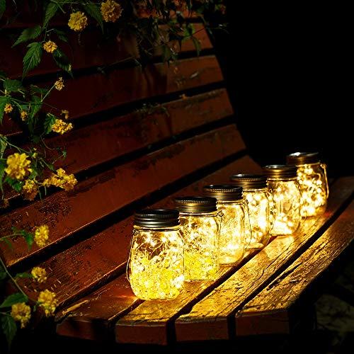 Wasserdicht Solarlicht Glas Rostfreier Stahl Mason Jar Solarlampen Draußen Gartendekoration Party Veranstaltungen Hochzeit Urlaub (Warmweiß 4 Stück)