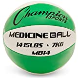 Champion Sports MB14 Exercise Medicine Balls, 14-15 lbs, Leather with No-Slip...