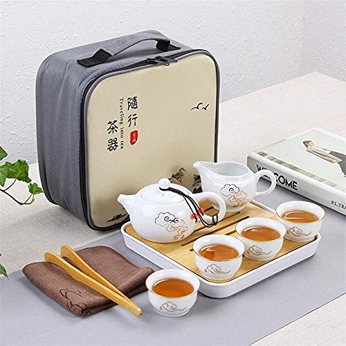 Tea Table Teapot Sets,Portable Travel Kungfu Tea Set Handmade Chinese, Porcelain Teapot Travel Kung Fu Tea Set Portable White Porcelain Jade Porcelain, High-End Tea Set (Color : F)