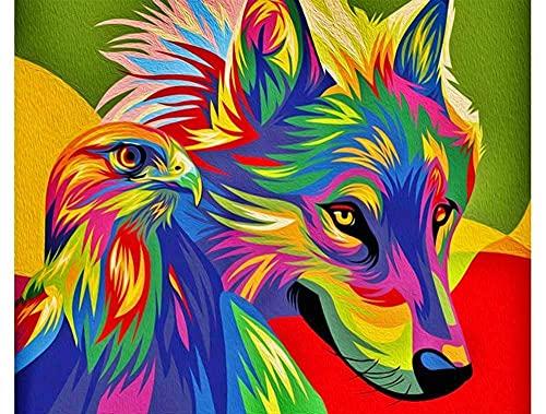 Pintar por números - Águila y Lobo de Color Animal - Pintura de Arte Moderno - Kit de Pintura de Bricolaje Adecuado para Adultos y Principiantes - 40x50cm - Sin Marco