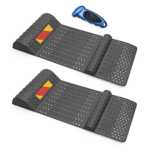 Premium Products Garage Parking Mat Guide - Adhesive Back, Anti-Skid, Reflective Strip - Fits Most All Cars and Non-Commercial Tires - 2 Pack - Complete with Air Pressure Gauge