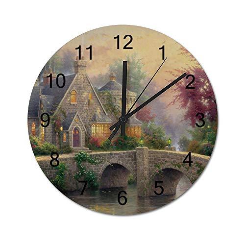 Reloj de pared para regalo de inauguración de la casa, de 30,48 cm, con nubes esponjosas y agua fluida, funciona con pilas, reloj de madera para decoración del salón