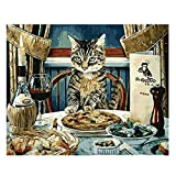 YXBNB DIY Pintura al óleo por Numeros Painting by Number 40x50cm,Paint Number Kits,Abstract Dinner Cat,Paint by Numbers Set Decor Art 40x50cm