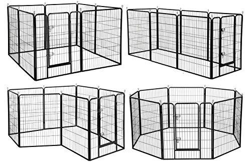 "YAHEETECH Heavy Duty Pet Playpen Folding Metal Protable Puppy Exercise Pen Dog Fence Indoor Outdoor 16 Panels/8 Panels 24in 32in 40in 8 Panels 40"" H"