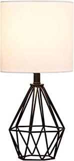 COTULIN Living Room Table Lamp,Modern Desk Lamp with TC Fabric Shade and Hollowed Out Base for Study Room Bedroom,Black