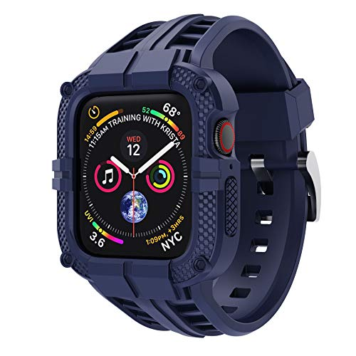 T-ENGINE Band Compatible with Apple Watch Band 40mm Series 6 Series 5/4/SE, TPU Rugged Band with Full Protection Case for Women/Men, Blue