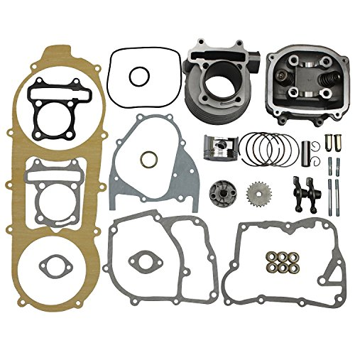 GOOFIT 57.4mm Cilindro Motor Culata Kit Gy6 4 Tiempos 125cc 150cc 157qmj 152qmi Kit De Reacondicionamiento De Gran Calibre Adecuado reemplazo para Kart Motocicleta China Scooter