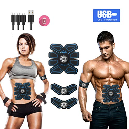 MOORAY SPORT Abs Stimulator Muscle Toner Rechargeable Muscle Trainer Ultimate Abs Stimulator for Men Women Abdominal Work Out Ads Power Fitness Abs Muscle Training Gear ABS Workout Equipment Portable