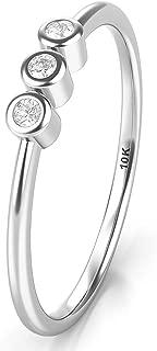 10K White Gold Bezel Set 3 Diamond Past Present Future Wedding Engagement Ring