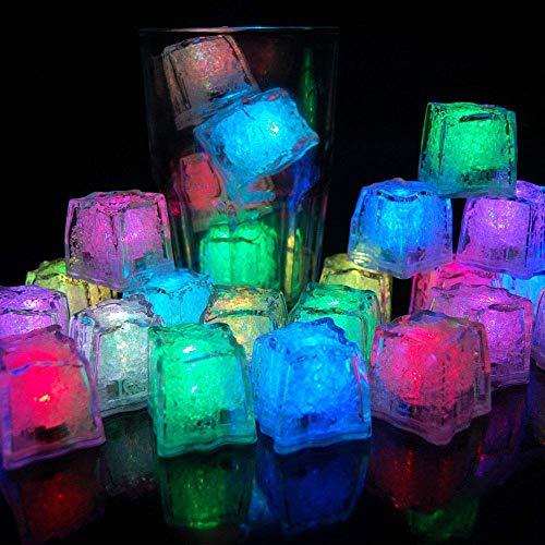12 Stück LED Eiswürfel für Getränke, Flüssigsensor Blinken LED Glühen Licht Wasser Tauch Leuchten Led EIS Farbwechsel für Bar Club Trinken Wein Hochzeit Party Champagner Tower Dekoration