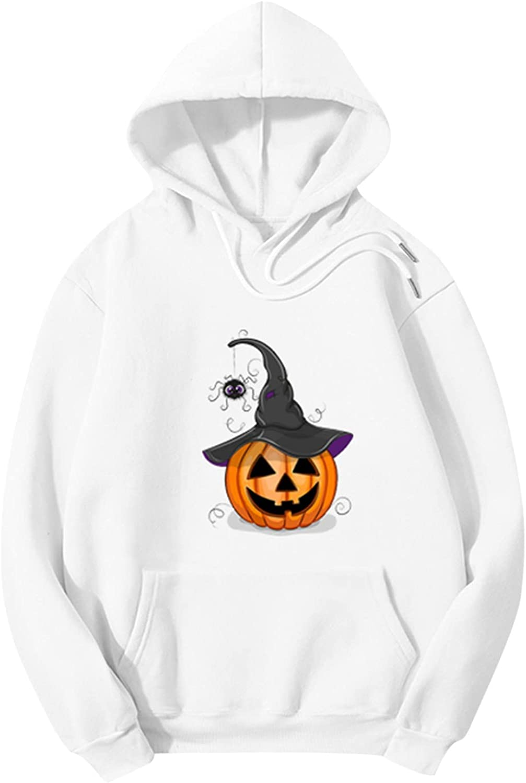 Halloween Womens Hoodie Crew Neck Drawstring Hoodie Pumpkin Graphic Trendy Long Sleeve Sweatshirt Top Tee With Pockets