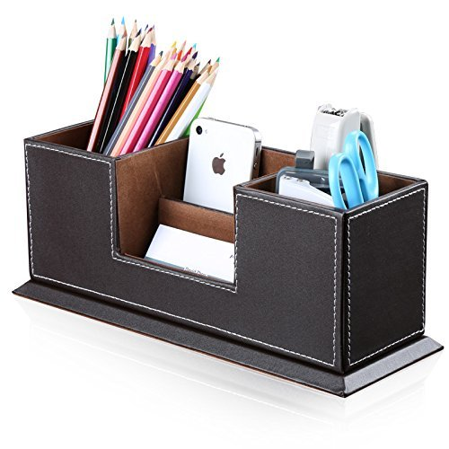 KINGFOM Multifuncional Organizador de escritorio de oficina, color marrón