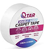 Removable Double Sided Carpet Tape, Heavy Duty Sticky Tape, 2 Inch X 15 Yards, Rug Tape Anti-Slip for Area Rugs, Hardwood Floors, Stair Treads, Rugs, Carpet Over Carpet Adhesive