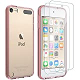 LISVN iPod Touch Case , iPod Touch Case Screen Protector with [2 x Tempered Glass Screen Protector] Premium Ultra-Clear Acrylic + Soft TPU Shockproof Anti-Scratch Cover for iPod Touch 5/6/7,Light Pink