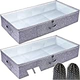 Gorgero Under bed Storage Container, Set of 2 Large Breathable Woven Underbed Storage Containers with Plastic Board, Stackable under bed Clothes Organizer Storage Box for Comforters, Blanket,Bedding