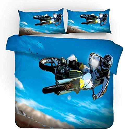AMCYT Bedding Set 3D Motorrad Bettbezug, Leidenschaft Und Geschwindigkeit, Sport Stil Bettbezug Und Kissenbezug Für Kinder Jungs Mann (3,135 * 200)