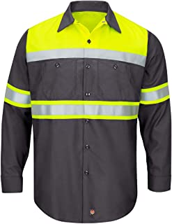 Men's Hi-vis Ls Colorblock Ripstop Work Shirt-Type O,...