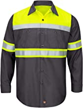 Red Kap Men's Hi-vis Ls Colorblock Ripstop Work Shirt-Type O, Class 1