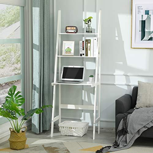 Itaar 3-Tier Ladder Desk, Ladder Stand Shelf Bookcase with Storage Shelves, Study Wall Shelf with Wooden Frame, Modern Ladder Computer Desk and Bookshelf for Home Office, White