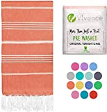 VIVENCE Turkish Beach Towels Infused with Aloe Vera - Sand Free and Moisturizing Oversized Beach Towels for Adults, Kids - Fast Drying, Prewashed 100% Cotton Turkish Towels - 38'x70' - Dark Coral