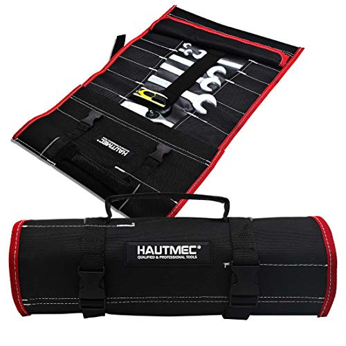 HAUTMEC 32-Pocket 600 Denier(600D) Polyester Tool Roll Bag- Large Space Waterproof Wrench Organizer Roll Tools Bag HT0069-TB