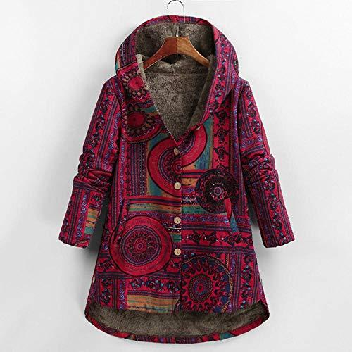 KULIXI Damen Herbst Jacke Frauen Windbreaker Leder Jacke Mantel Blumendruck Kapuzen Taschen Vintage Mäntel-6 Rot_XL