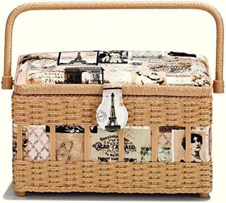 Prym Financial sales sale Lowest price challenge Vintage Craft Storage Basket Beige Cream Medium White