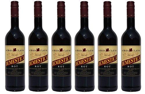 6x Demestica je 750 ml griechischer Rotwein trocken Achaia Clauss 12 % + 2 Probier Sachets Olivenöl...